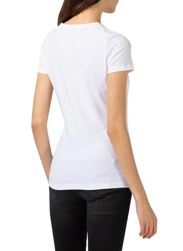 Lacoste  Pamuklu Slim Fit V Yaka T Shirt Kadın T Shırt Tf0999 001 Beyaz